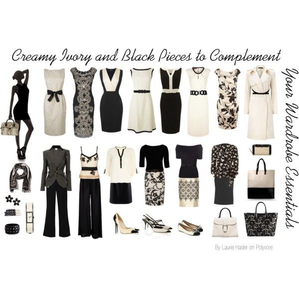 """""""Creamy Ivory and Black Pieces to Complement Your Wardrobe Essentials"""" by lauriehasler on Polyvore"""