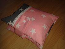 Wickeltasche rosa/grau m 5 Fächern + Schnullerband