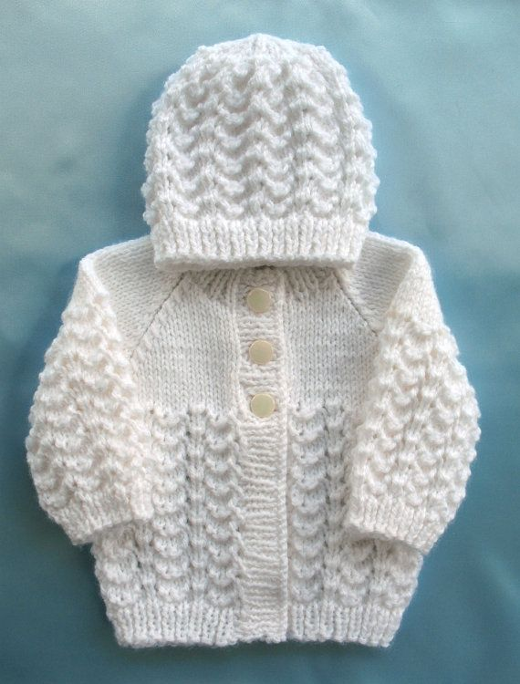 Hand Knitted Hat Patterns : Baby Sweater Hand Knit White Set Preemie Girl Boy Premie Premature Newborn In...
