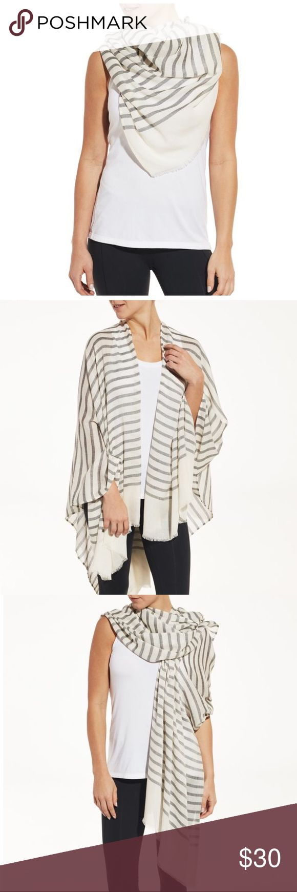 Calia by Carrie Underwood striped cream scarf New with tags! With up to four ways to wear, the CALIA™ by Carrie Underwood Women's Striped Woven Convertible Scarf is your ultimate on-the-go piece for all seasons. In cool weather, this soft piece can be worn as a traditional scarf or draped over your shoulders like a shawl. In warm weather, it functions perfectly as a sarong over your favorite swimwear. Stylish and versatile, the CALIA™ Striped Woven Convertible Scarf meets your comfort and…