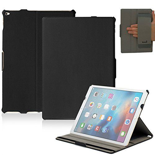 KHOMO iPad Pro Case (Released September 2015) – Black PU Leather Executive Cover with Hand Strap Holder and Smart Feature (Built-in magnet for sleep / wake feature) For Apple iPad Pro 12.9 Inch Tablet – BOOMZ.NET