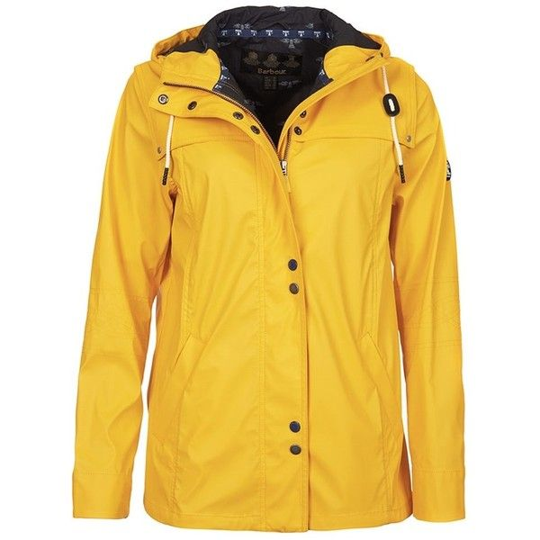 Women's Barbour Hackamore Parka - Yellow (11.655 RUB) ❤ liked on Polyvore featuring outerwear, coats, rain coat, mac coat, barbour raincoat, barbour coats and yellow raincoat