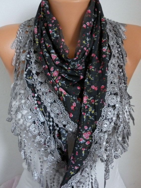 Floral Scarf Spring Scarf Cowl Women by fatwoman,