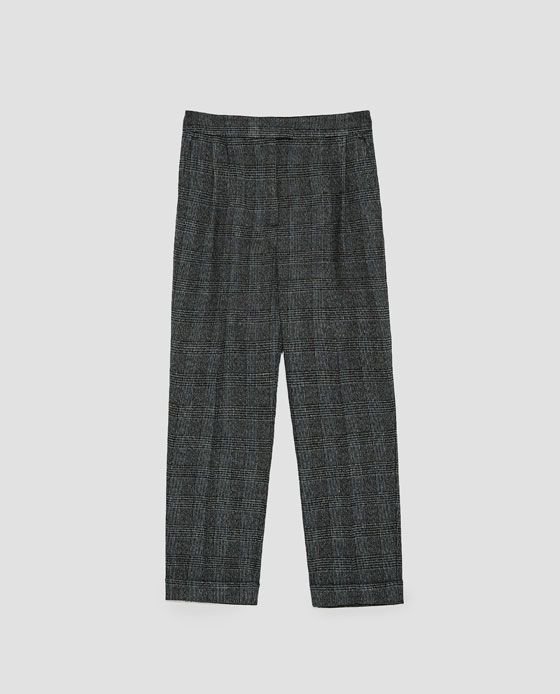 CHECKED FLANNEL TROUSERS from Zara
