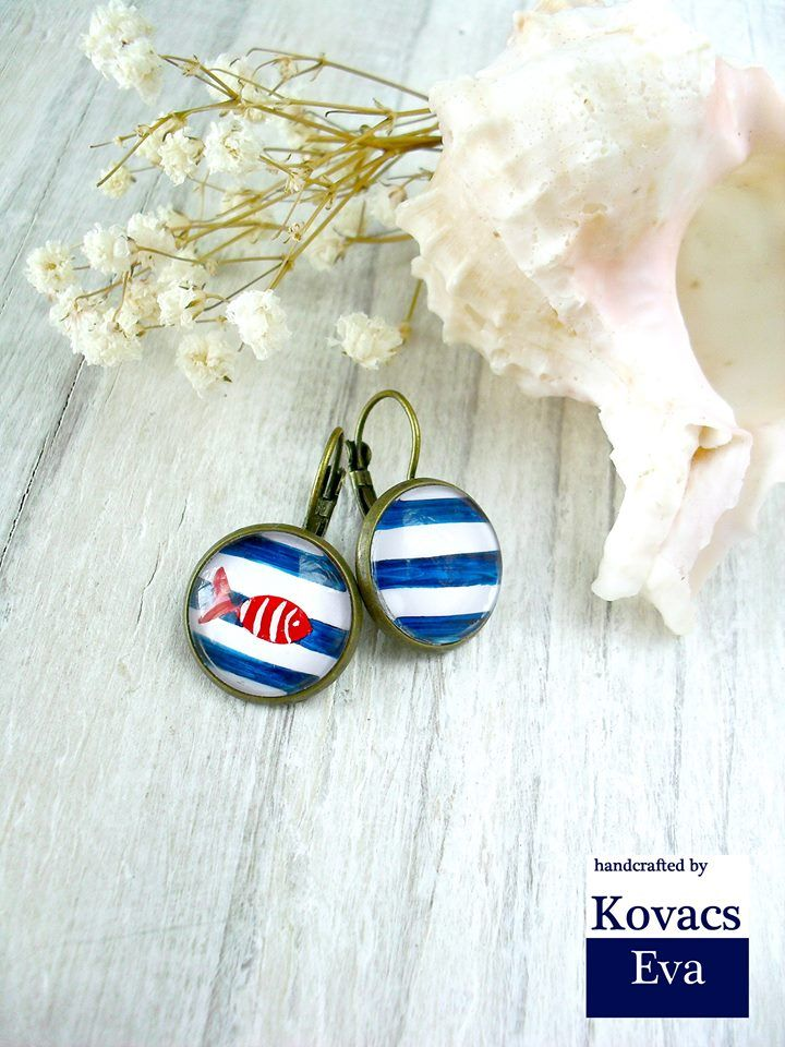 White and blue striped navy earrings.Handpainted fish,navy earrings.Navy jewelry.Red and blue earrings.