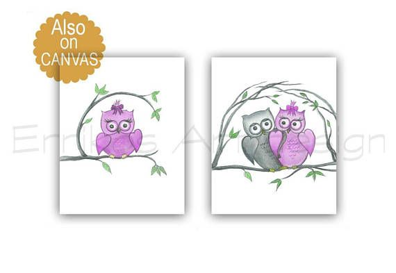 Owls Nursery Art Baby Girl Nursery Owls Nursery Decor