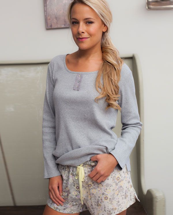 Katie 100% Cotton Long Sleeve Knitted Top And Brushed Printed Shorty Set