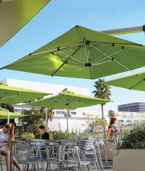 Canteliever umbrella for patio seating
