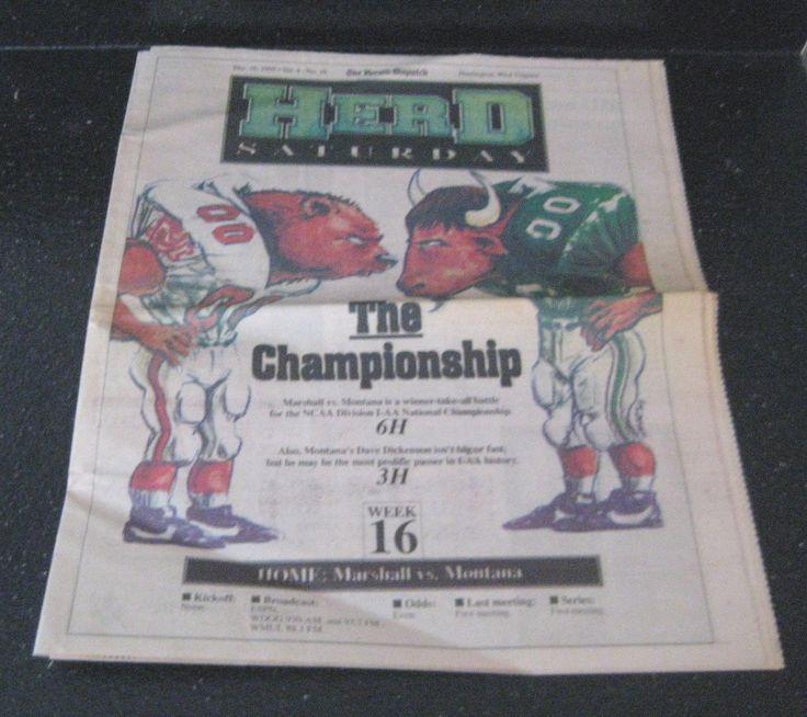 1995 MARSHALL UNIVERSITY NATIONAL FOOTBALL CHAMPIONSHIP GAME NEWSPAPER 2 ISSUES