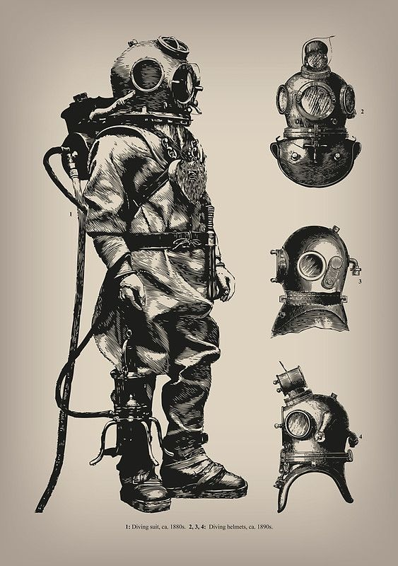 "VINTAGE DEEP SEA DIVER / A vintage inspired design of Victorian era deep sea diving suit and helmets. / Please use the Available Products tab above to see the full range of art prints, home decor, clothing, bags, stationery and tech accessories in this design. / For more color options and other designs from Eclectic at HeART go to: / ""http://www.redbubble.com/people/eclecticatheart/shop"" • Also buy this artwork on wall prints, apparel, kids clothes..."