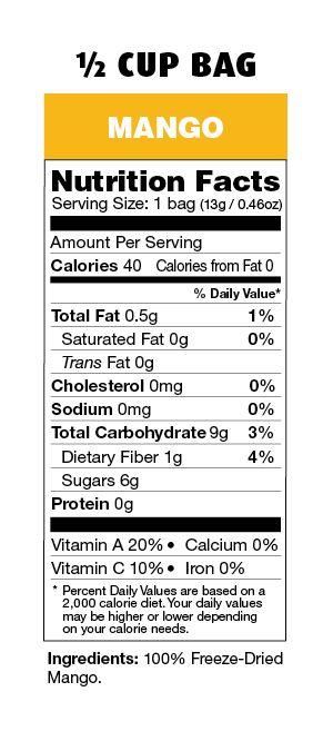Brothers-All-Natural Mango Fruit Crisps nutrition label. #Mango #FreezeDried #FruitCrisps