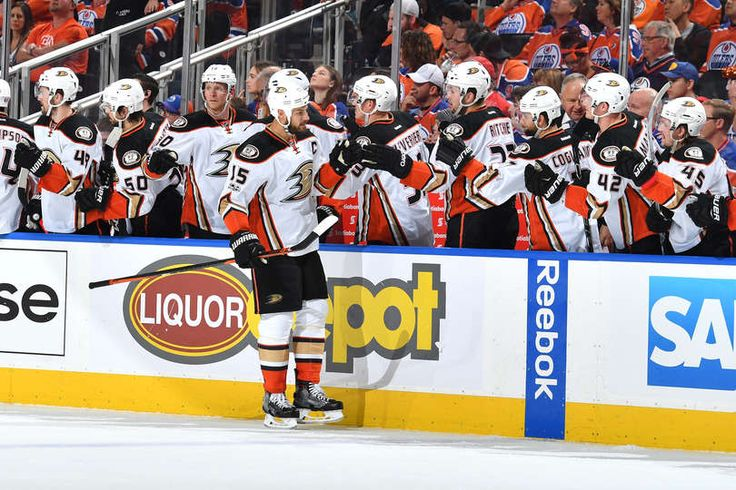 Ryan Getzlaf 15 of the Anaheim Ducks celebrates after a goal in Game Three