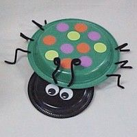 """Supplies  7"""" Black Paper Plate  10"""" Green Paper Plate  Hole Punch  Sharp Pencil  1 Black Pipe Cleaner for Antennae  Tacky Glue and Clothespins  Scissors  3 Black Pipe Cleaners for Legs  Assorted Colors of Constructions Paper  2 wiggle eyes – 35mm  Black Marker"""