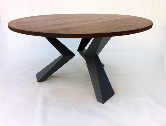 "Modern 60"" Round Bird Leg Dining Table Seats 8 - Contemporary Lines - Solid Walnut w/ Steel Legs"
