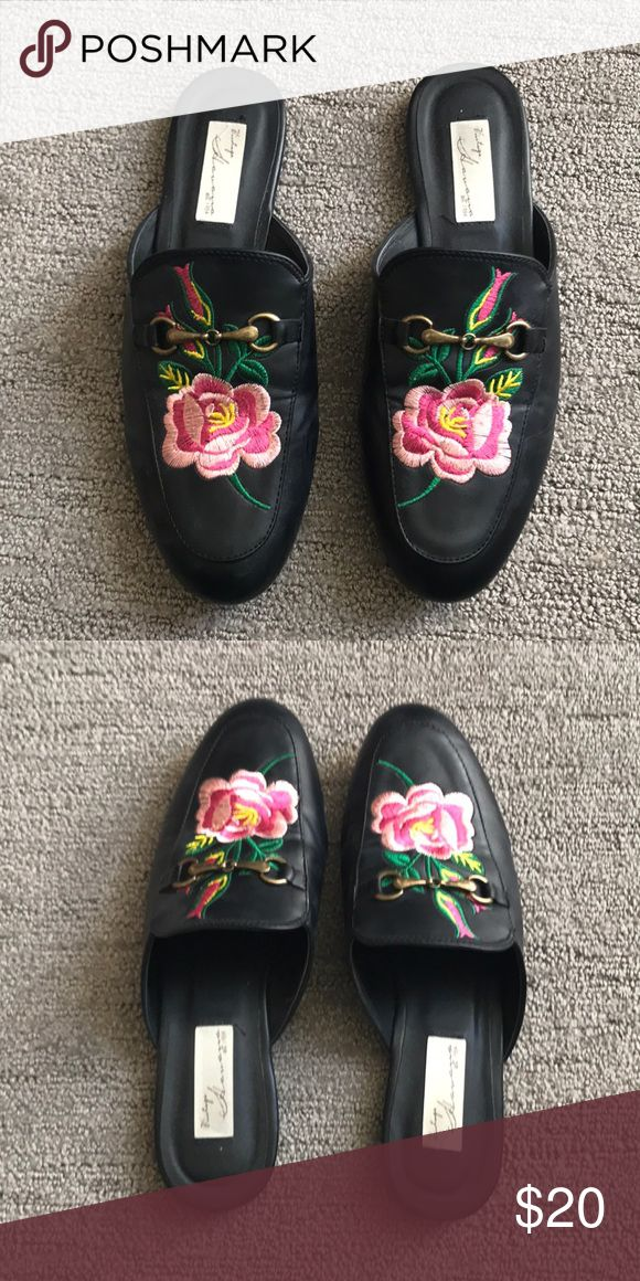 Black Embroidered Loafers Only wore a few times, great condition. Cute and trendy! Vintage Havana Shoes