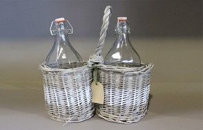 Woven double basket bottle carrier