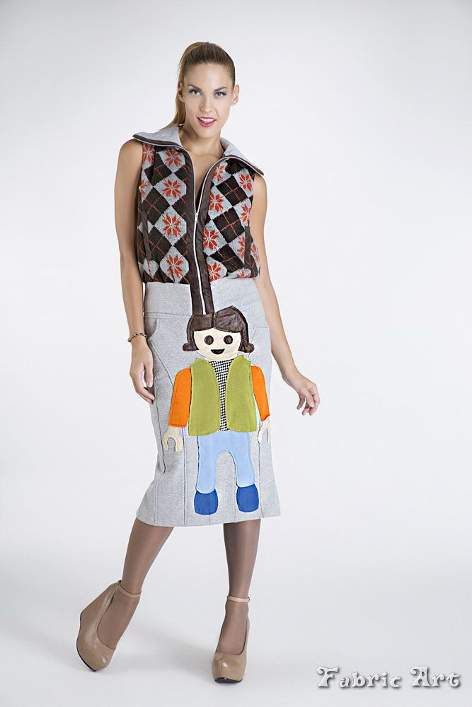 """Knitted gilet with zipper and high waisted tube skirt with handmade applique """"Playmobil""""."""
