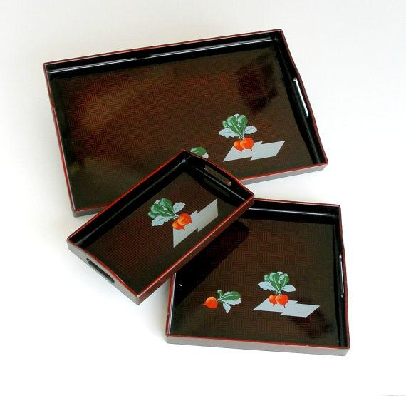 Vintage Asian Trays Black Lacquer Nesting Trays Set Cocktails Hors d'Oeuvres Party Trays