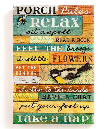 Another great find on #zulily! 'Porch Rules' Collage Wall Art #zulilyfinds