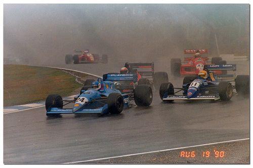 (24) Stéphane Proulx - Lola T90/50 Mugen/Brown - Pacific Racing - (11) Andrea Chiesa - Lola T90/50 Mugen/Smith - Paul Stewart Racing - (40) Andrew Gilbert-Scott - Reynard 90D Cosworth DFV Mader - Apomatox - (43) Pedro Matos Chaves - Reynard 90D Cosworth DFV Langford & Peck - Madgwick Motorsport - Brands Hatch - 1990 International F3000 Championship, round 8 - © Antsphoto