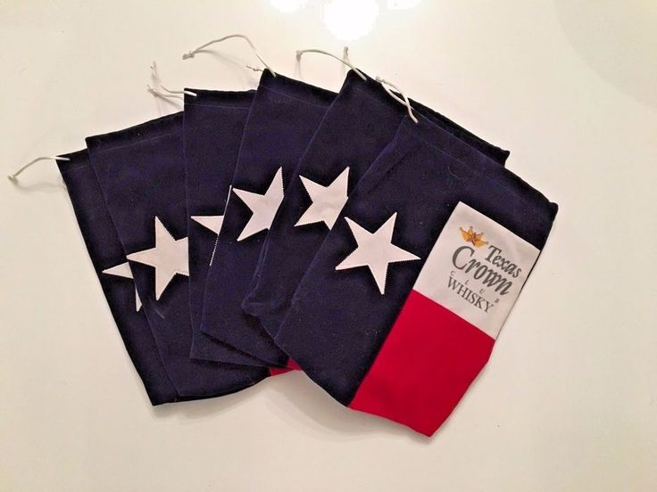 TEXAS CROWN CLUB WHISKEY BAG WITH DRAWSTRING TEXAS FLAG RED WHITE BLUE 6 Bags #TexasCrownClubWhisky