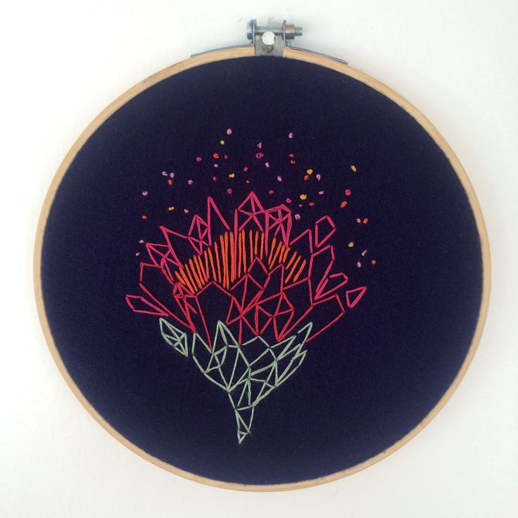 Protea on Blue - Embroidery on Felt 19cm