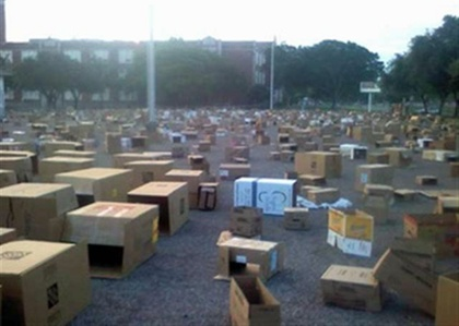 Senior Prank: Put tons of cardboard boxes in the parking lot :D