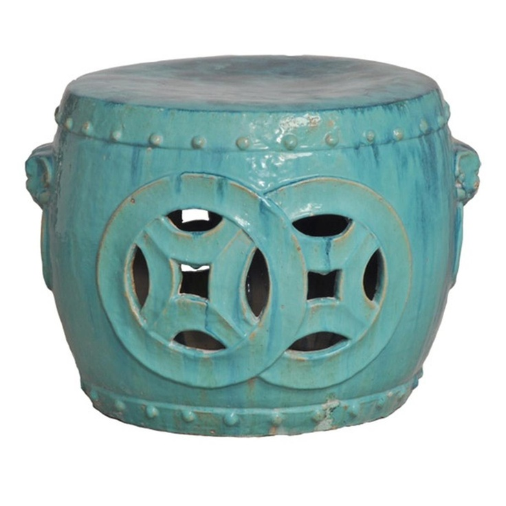 Antique Green Glaze Double Fortune Rare Garden Seat Drum   Asian   Outdoor  Stools And Benches   Kathy Kuo Home