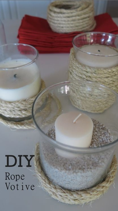 DIY Rope Votives - 20 Cheap and Affordable DIY Home Decor Ideas