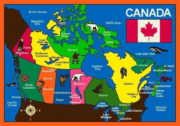 OH CANADA© Canadian Classroom Rug.  Bodies of water and familiar symbols are depicted on this large-scale carpet map of Canada.  The national flag is  proudly displayed.  Provinces and capital cities are labeled.  Ideal for classrooms or any learning center.