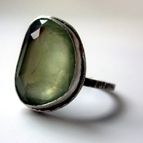 Rose Cut Green Prehnite Ring in Silver by sarawestermark on Etsy, $160.00