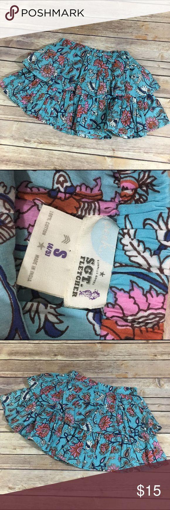 Peek Sgt. Fletcher Blue Tiered Skirt 4/5 Peek Sgt. Fletcher Blue Tiered Skirt 4/5  Beautiful floral print tiered skirt from Peek Sgt. Fletcher.  Lined.  Elastc waist.  #blue #floral #tiered #skirt #itsaskirt #sgtfletcher #peek Peek Bottoms Skirts