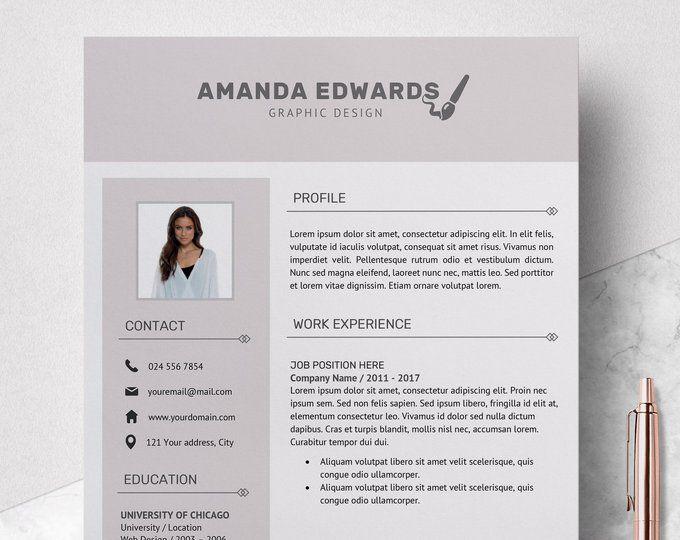 Creative Resume Template Cv Template For Ms Word And Pages Etsy Resume Template Creative Resume Templates