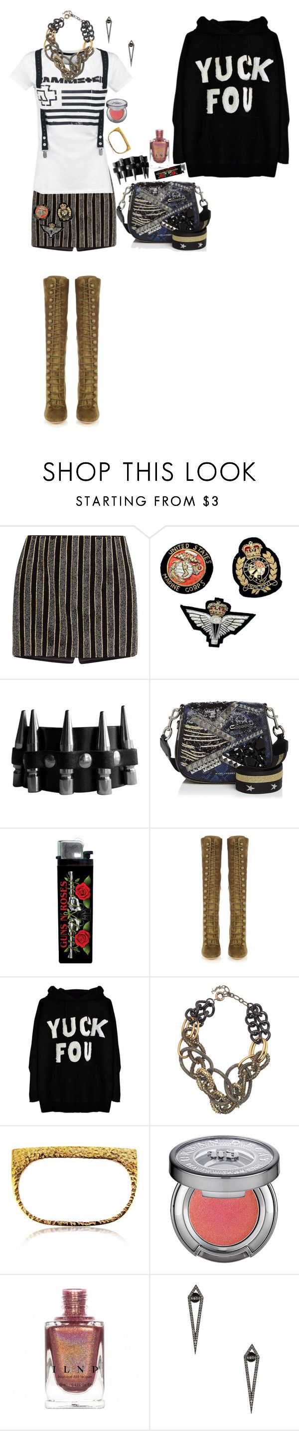 """""""."""" by applecocaine ❤ liked on Polyvore featuring Balmain, Vintage, Marc Jacobs, Gianvito Rossi, Yves Saint Laurent, Maya Magal, Urban Decay and Eva Fehren"""