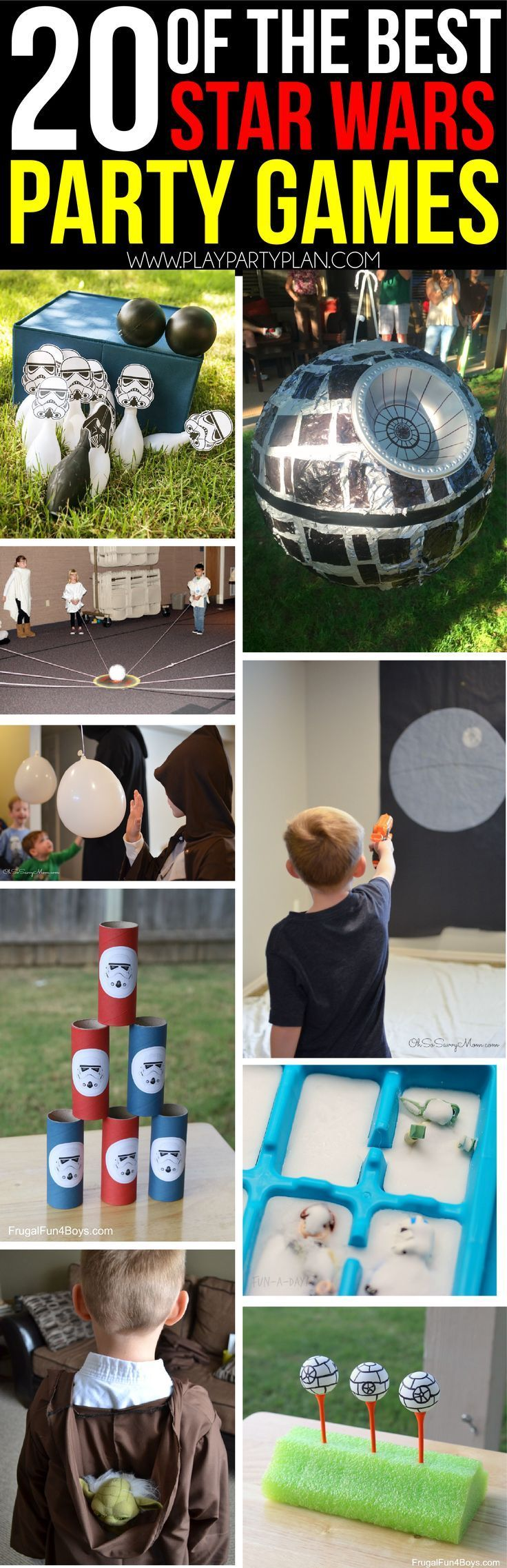 20 out of this galaxy Star Wars party games (for kids, for teens, or for adults!) including everything from obstacle course ideas to scavenger hunts to find Han Solo and Storm Troopers! Ideas you can DIY or buy, play indoor or outdoor, and even printables that are perfect for Star Wars birthdays!