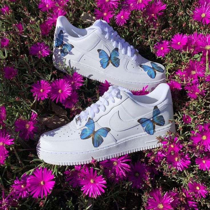Blue HD Clear Butterfly Air Force 1 Shoes #air #Blue