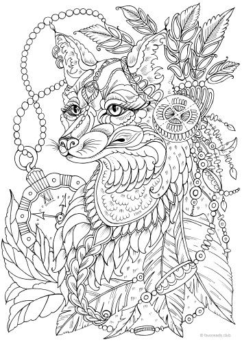 Pin By Kata Koo On Coloring Pages Fox Coloring Page Animal Coloring Pages Steampunk Coloring