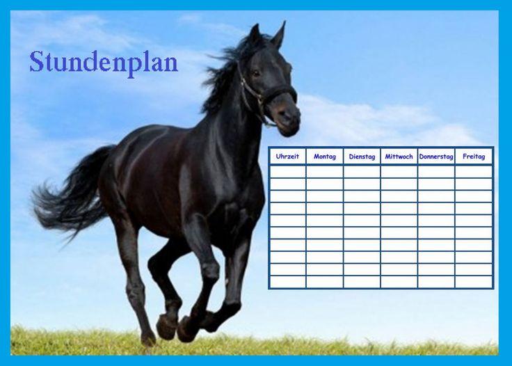 stundenplan  mit pferden in verschiedene motive