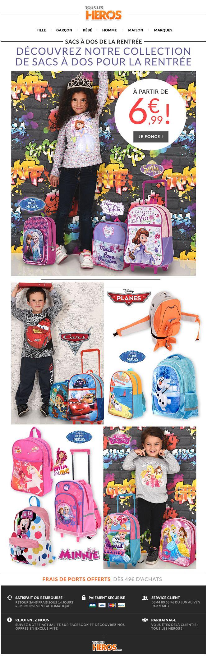 Découvrez notre gamme de #sacàdos sur www.tous-les-heros.com ! Parfait pour les #sorties et pour l'#école ! #mode #enfants #modeenfants #modeàpetitprix #touslesheros #superheros #heros #lesminions #minions #disney #sacs