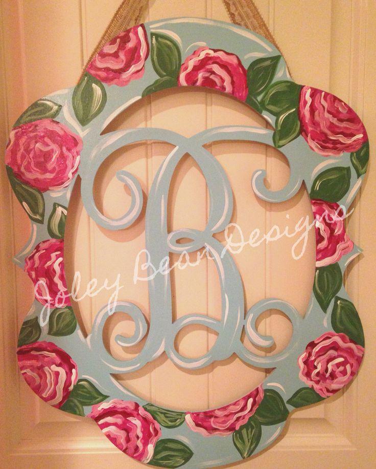 Joley Bean Designs, roses, monogram, door hanger, spring