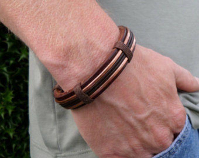 Bracelet cuivre homme, bracelet en cuir pour homme, pour homme cuir et cuivre Bracelet, bracelet cuivre homme, Bracelet cuivre, Bracelet en cuir