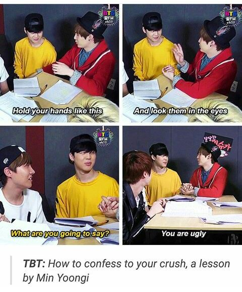 Yoongi is for real a Tsundere XD He's actually not teaching Jimin how to confess but the one confessing XD
