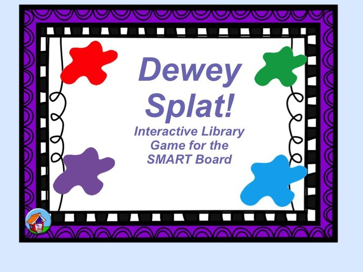 """PAID - Kids read a book title on the Smart Board, then tap on a Dewey number. The correct one disappears, with a resounding """"splat"""" sound!"""