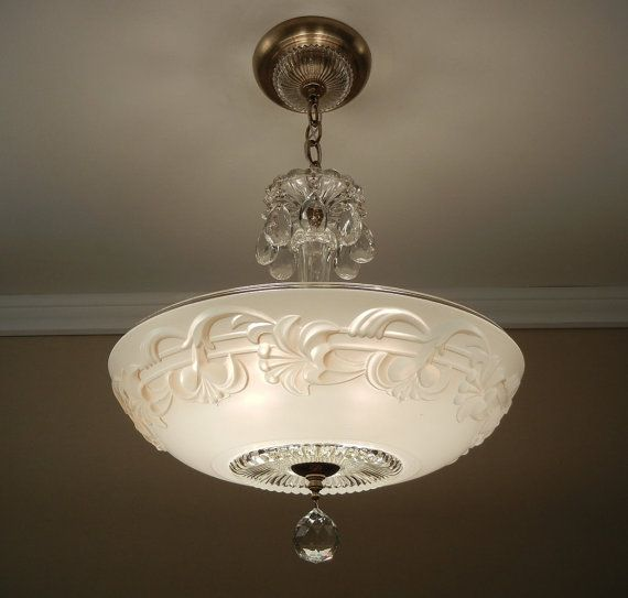 Antique chandelier 1930 39 s art nouveau style ivory pressed for Art nouveau lighting fixtures