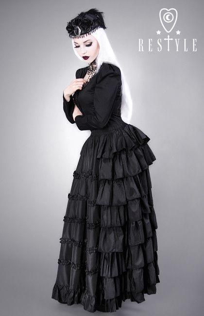 DARK ROCOCO gothic, long, black skirt, flounces, prom producer:Restyle.pl