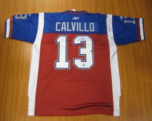 ANTHONY CALVILLO Montreal Alouettes SIGNED CFL Football Jersey . $398.05. This is an official licensed SIGNED Anthony Calvillo Montreal Alouettes jersey. The jersey is brand new with all of the lettering and numbering professionally sewn on. The player has beautifully signed the number. To protect your investment, a Certificate Of Authenticity and tamper evident hologram from A.J. Sports World is included with your purchase.