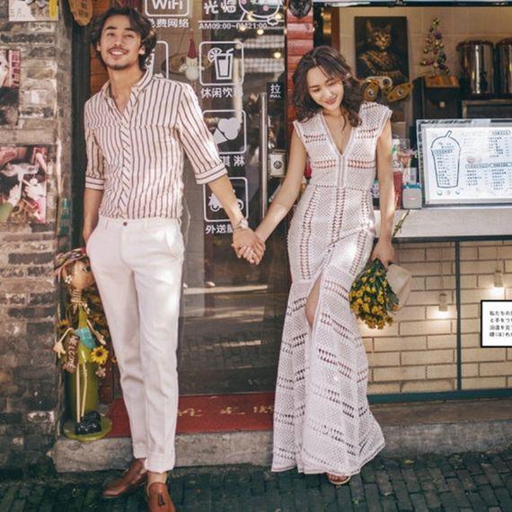 새로운 스튜디오 테마 의류 새로운 패션 유럽 스타일의 스트리트 의류 커플 사진 촬영 여행 웨딩 드레스