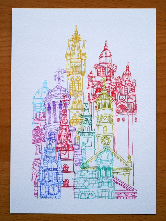 Glasgow Tower A5 Print by cheism on Etsy, $16.00