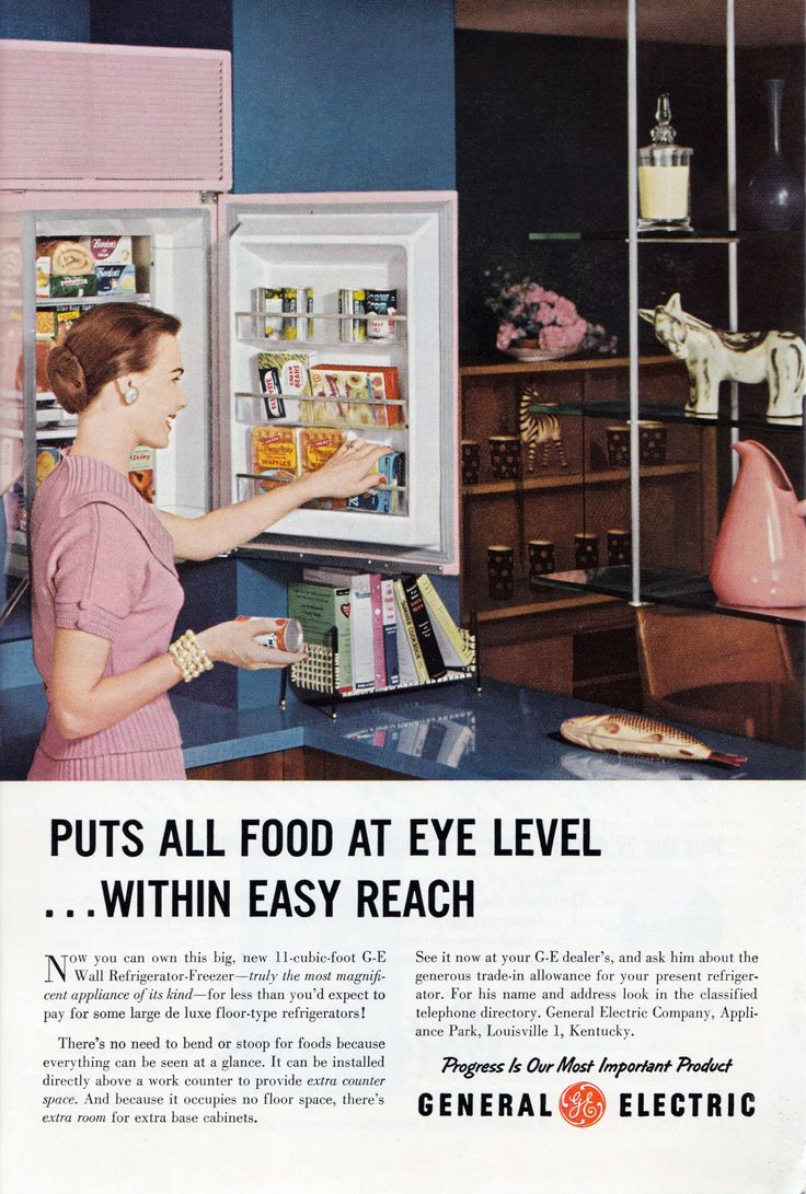 GE FridgeB Retro ads, Vintage house, Retro kitchen