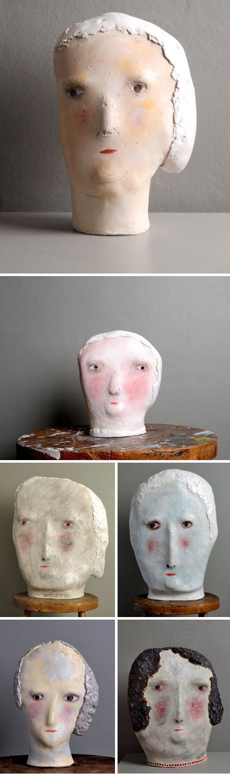 these remind me of the little clay heads my cousin and i loved to make in our pottery class. but these are way better. claire loder via the jealous curator. i love her site too: http://www.claireloder.co.uk/them